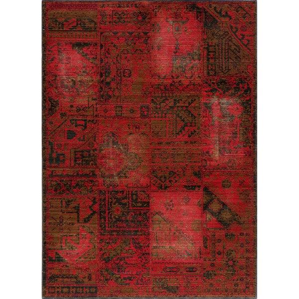 "Vintage Hamadan Patchwork Red New Zealand Wool Rug (1'8"" x 2'8"")"