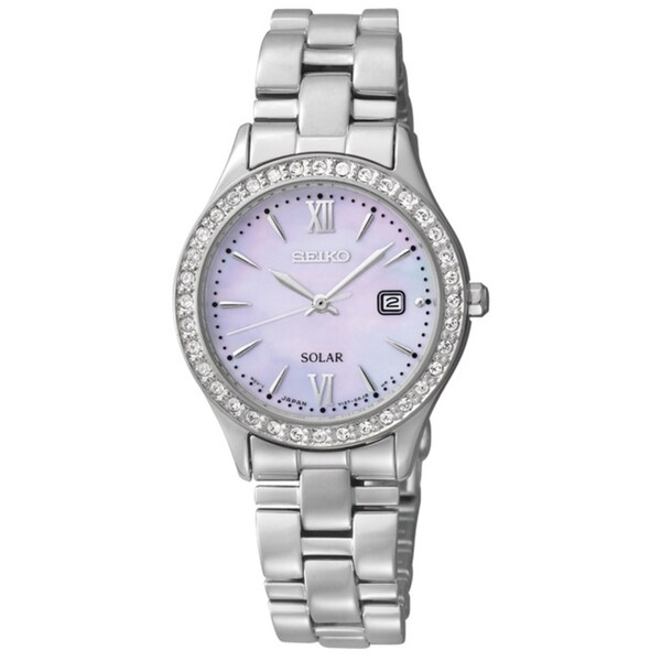 Seiko Women's Solar Mother of Pearl Dial Diamond Watch