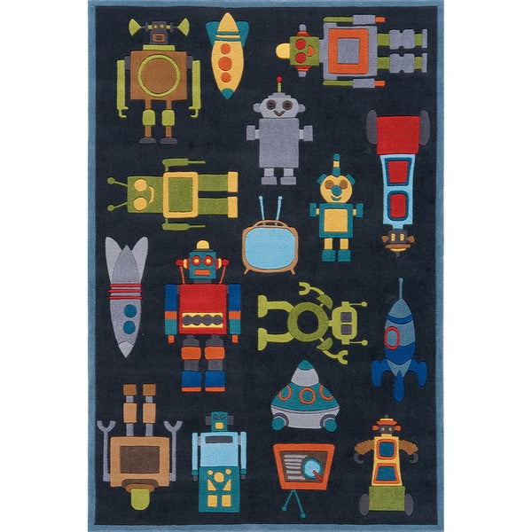 Momeni 'Lil Mo Robots Steel Rug (2' x 3')