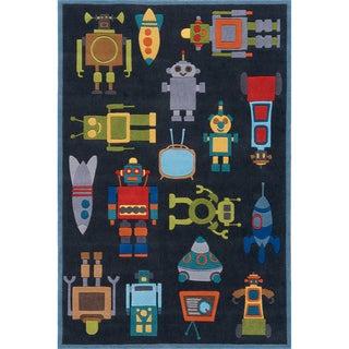 Momeni 'Lil Mo Robots' Steel Rug