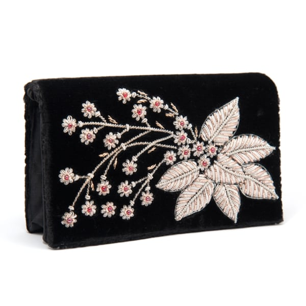 Black Silk Velvet Evening Bag with Embroidered Flower (India)