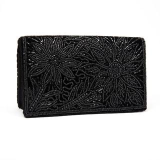 Black Silk Velvet and Embroidered Evening Bag (India)