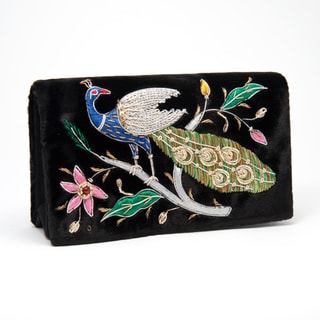 Black Silk Velvet Evening Bag with Embroidered Peacock (India)