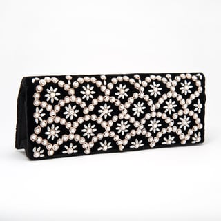 Silk Velvet Evening Bag with Pearls and Embroidery (India)