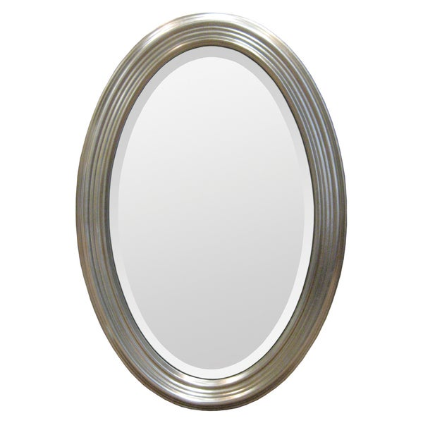 Silver Resin Frame Oval Mirror