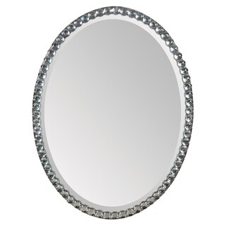 Silver Crystal Frame Oval Mirror