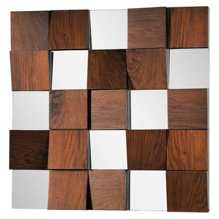 Walnut Veneer Panels Square Mirror