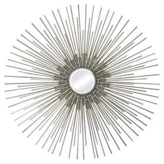 Silver and Gold Circular Mirror