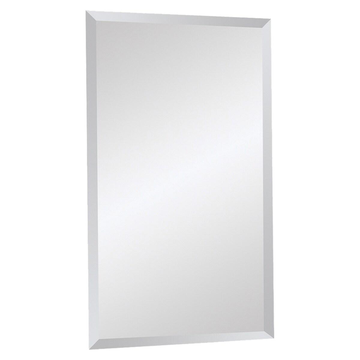 Beveled frameless rectangular mirror overstock shopping for Frameless beveled mirror