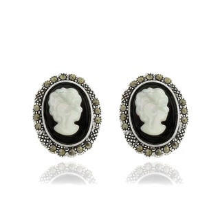 Dolce Giavonna Silver Overlay Black Onyx, Cameo Shell and Marcasite Stud Earrings