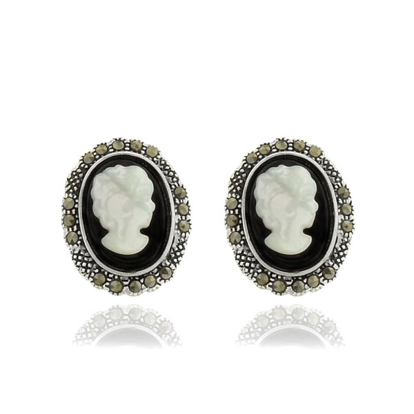 Dolce Giavonna Silverplated Black Onyx, Cameo Shell and Marcasite Stud Earrings