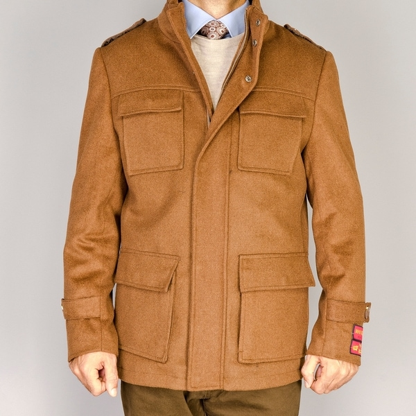 Men's Chesnut Wool/Cashmere Blend Snap Placket Coat
