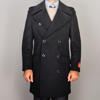 Mantoni Men's Black Wool/Cashmere Blend Double-breasted Coat