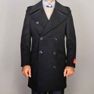 Men's Black Wool/Cashmere Blend Double-breasted Coat