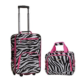 Rockland Deluxe Pink Zebra 2-piece Lightweight Expandable Carry-on Luggage Set
