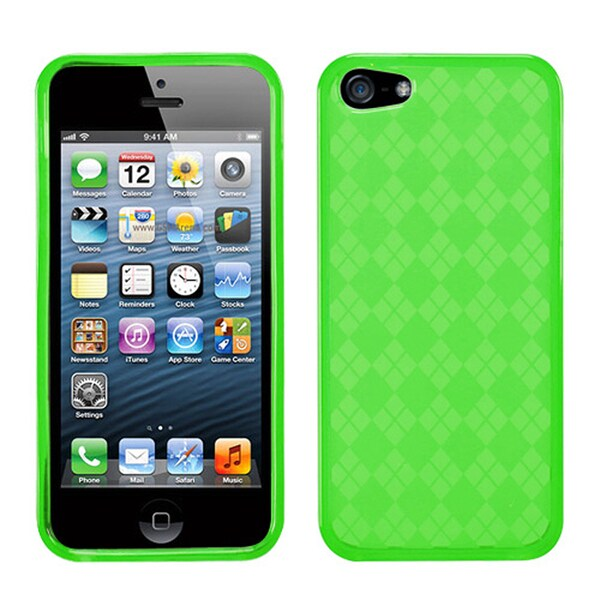 BasAcc Green Checker TPU Rubber Skin Case for Apple® iPhone 5