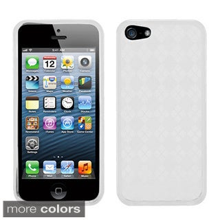 BasAcc White Checker TPU Rubber Skin Case for Apple iPhone 5