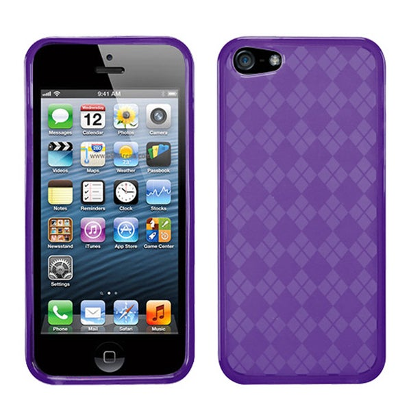 BasAcc Purple Checker TPU Rubber Skin Case for Apple® iPhone 5