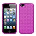 BasAcc Hot Pink Checker TPU Rubber Skin Case for Apple iPhone 5