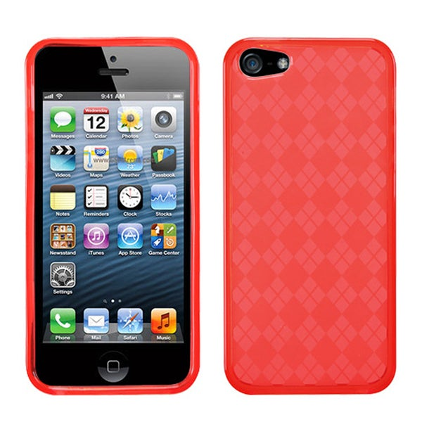 BasAcc Red Checker TPU Rubber Skin Case for Apple® iPhone 5