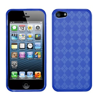 BasAcc Blue Checker TPU Rubber Skin Case for Apple� iPhone 5