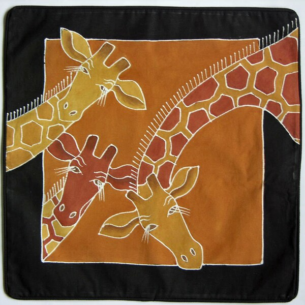 Hand Painted African Giraffe Pillow Cover (Zambia)
