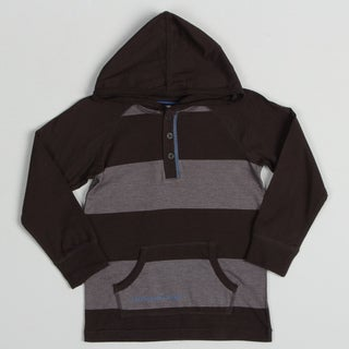 Calvin Klein Boy's Grey/ Black Striped Hoodie