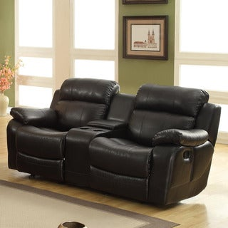 Eland Black Glider Recliner Loveseat