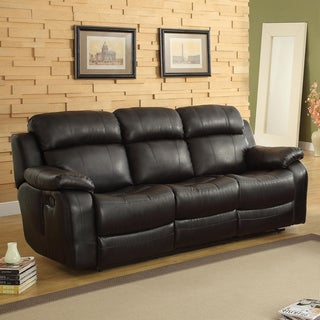 TRIBECCA HOME Eland Black Recliner Drop Down Cupholder Sofa