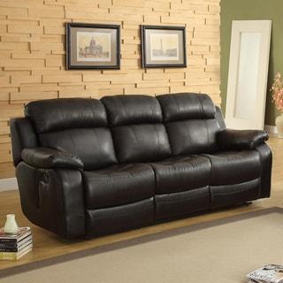 TRIBECCA HOME Eland Black Recliner Drop Down Cupholder Sofa