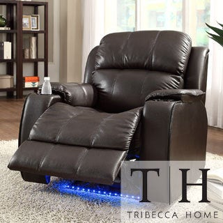 Garrett Power Recliner Brown Bonded Leather Chair