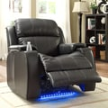 Tribecca Home Garrett Power Recliner Black Bonded Leather Chair