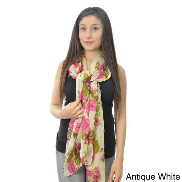 LA77 Women's Pastel Floral Lightweight Scarf