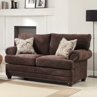 Graciela Chocolate Chenille 2-pillow Traditional Nail Head Loveseat