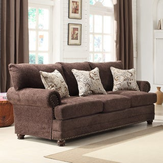 Graciela Chocolate Chenille 3-pillow Traditional Nail Head Sofa