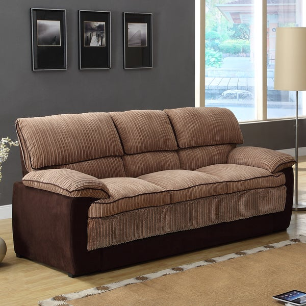 Hendris Brown Corduroy Microfiber Contemporary Sofa