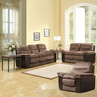 Medeline Brown Velvet/ Vinyl Sofa Set