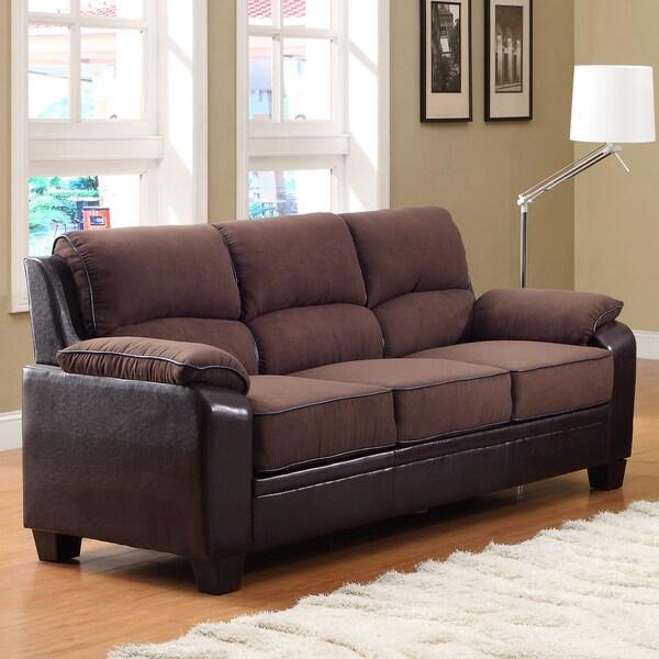 TRIBECCA HOME Morena Dark Brown Two-Tone Microfiber Contemporary Sofa