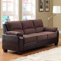 Morena Dark Brown Two-Tone Microfiber Contemporary Sofa