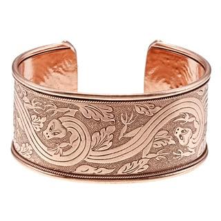 Copper Etched Cuff Bracelet (Nepal)