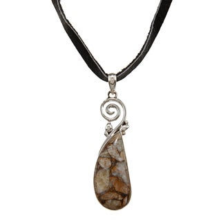 Sterling Silver Abstract Agate Stone Necklace (Nepal)