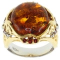 Michael Valitutti Two-Tone Baltic Amber and Orange Sapphire Ring