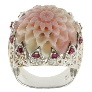 Michael Valitutti Two-tone Silver Carved Flower Conch Shell Ring