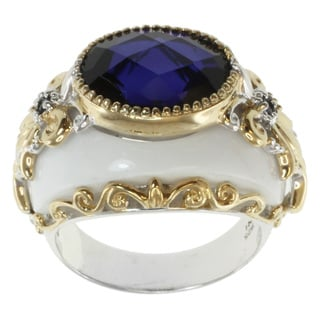 Michael Valitutti Two-tone Silver White Agate and Tanzanite Quartz Ring