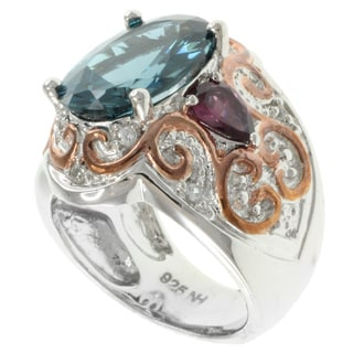 Michael Valitutti Two-tone London Blue Topaz and Rhodolite Ring