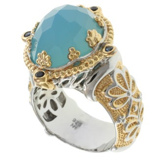 Michael Valitutti Two-tone Silver Blue Onyx Ring