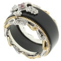 Michael Valitutti Two-tone Silver Agate and Gemstone Ring