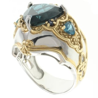 Michael Valitutti Two-tone London Blue Topaz Ring