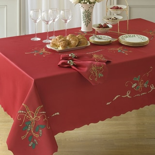 Lenox Red Holiday Embroidered Tablecloth