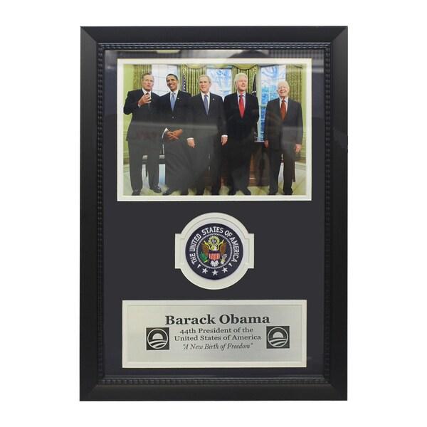 Barack Obama with Former Presidents Patch Frame
